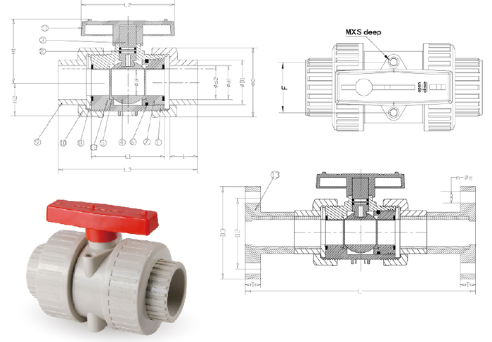 pvc plastic flange electric ball valve