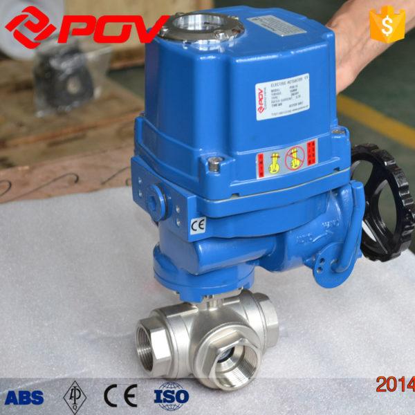 thread bsp electric 3 way ball valve