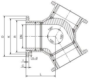Y 120°Three way flow diagram