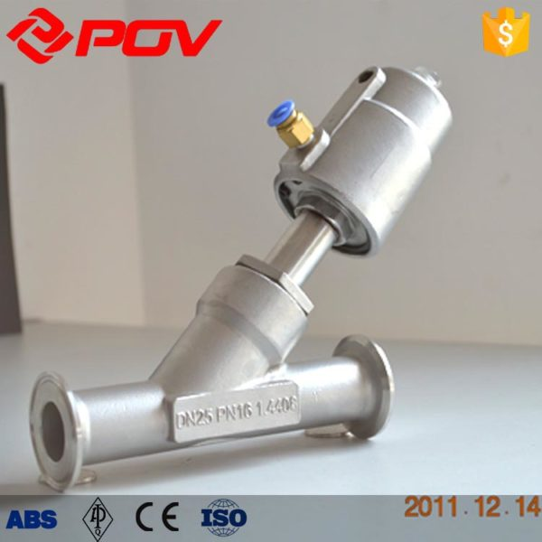 Clamp stainless steel pneumatic angle seat valve