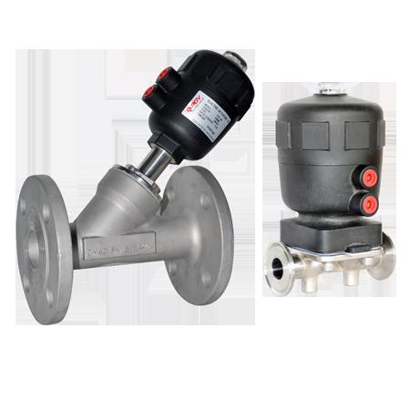 Pneumatic angle seat valve