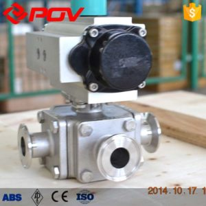 Lining PTFE pneumatic 3 way ball valve