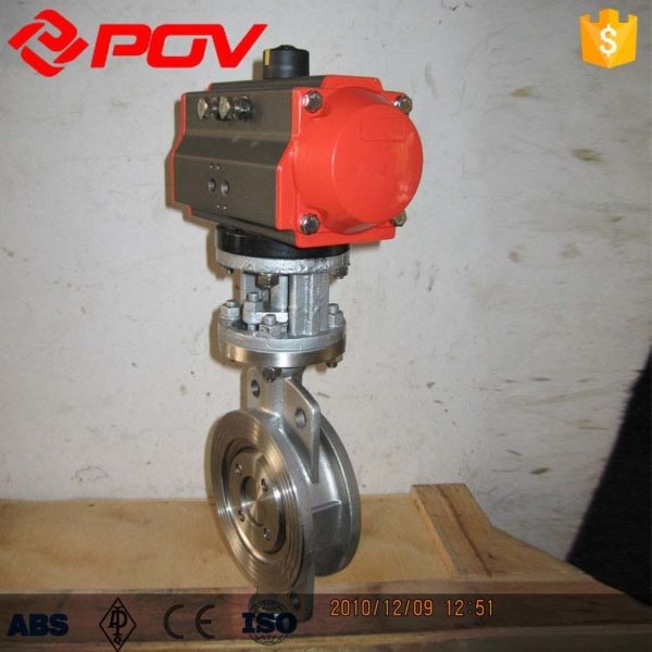 Metal hard seal pneumatic butterfly valve