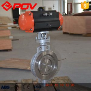 Metal hard seal pneumatic butterfly valve