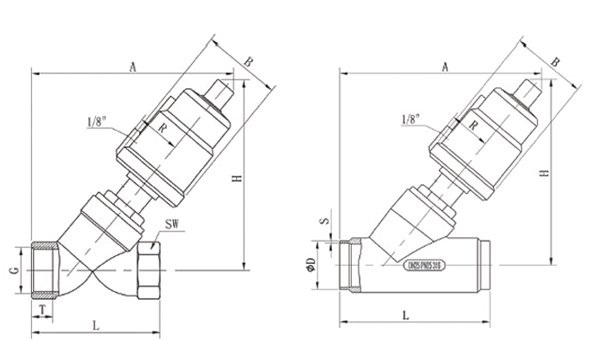 stainless steel air operated angle valve