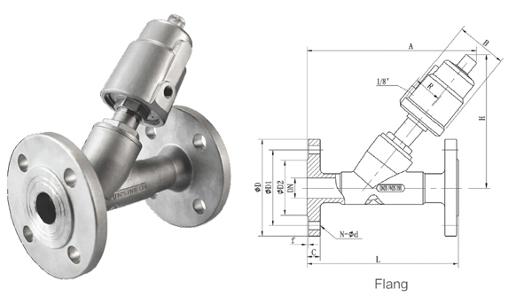flange stainless steel air operated angle air valve