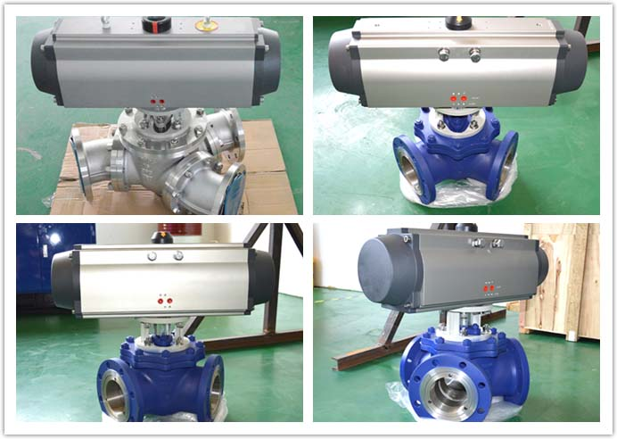 Y-type 135 degree pneumatic three-way ball valve