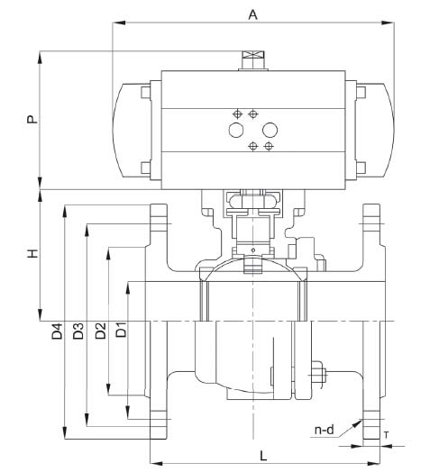 pneumatic ball valve size
