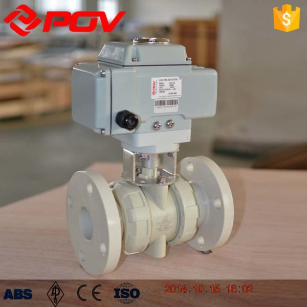 pp plastic true union electric ball valve