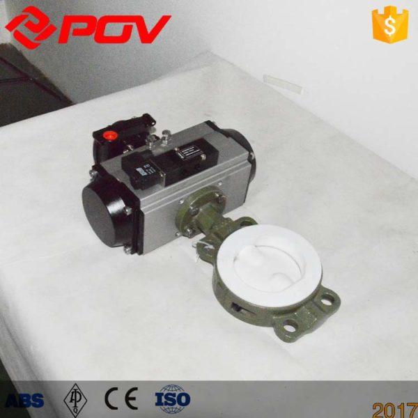 ptfe lined pneumatic butterfly valve