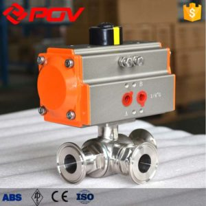 sanitary pneumatic 3 way ball valve 4