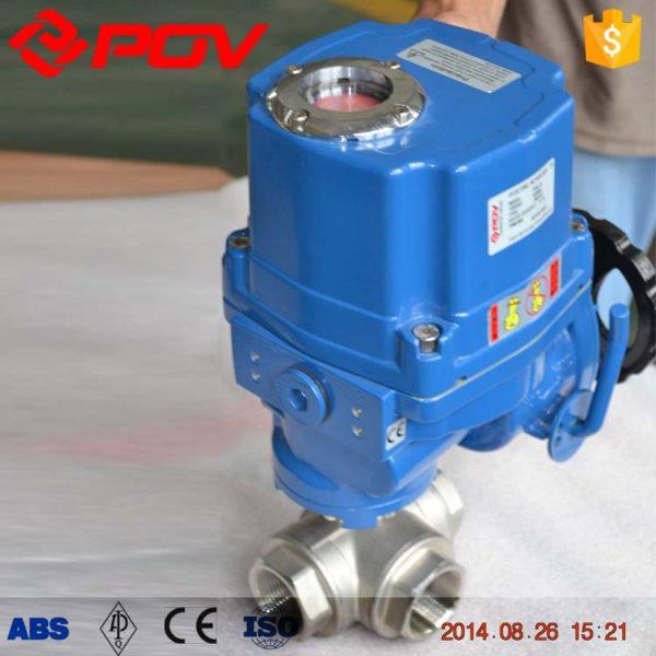 thread bsp electric 3 way ball valve 3