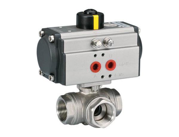 3-way thread ball valve ISO5211 direct mounting pad