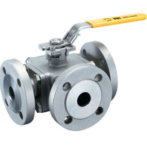 3-way flanged ball valve ISO5211 direct mounting pad
