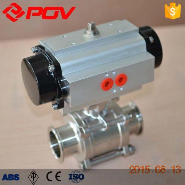 PTFE cavity filler pneumatic 3pc clamp ball valve