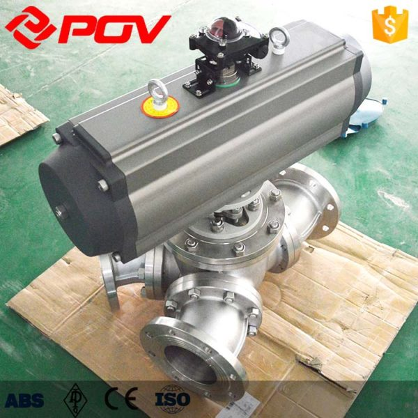 Y-type 135 degree pneumatic three-way ball valve 2
