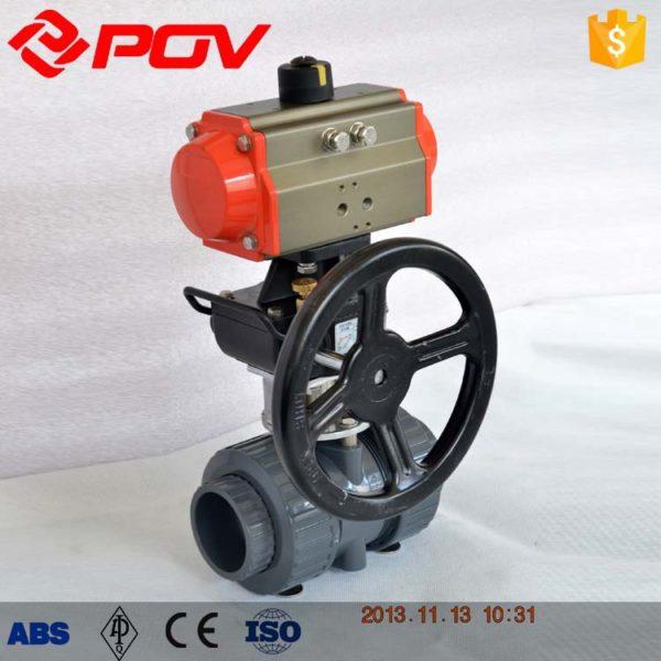 pvc plastic true union pneumatic ball valve
