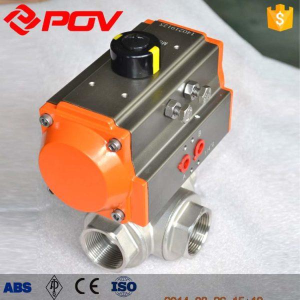 thread bsp pneumatic 3 way ball valve