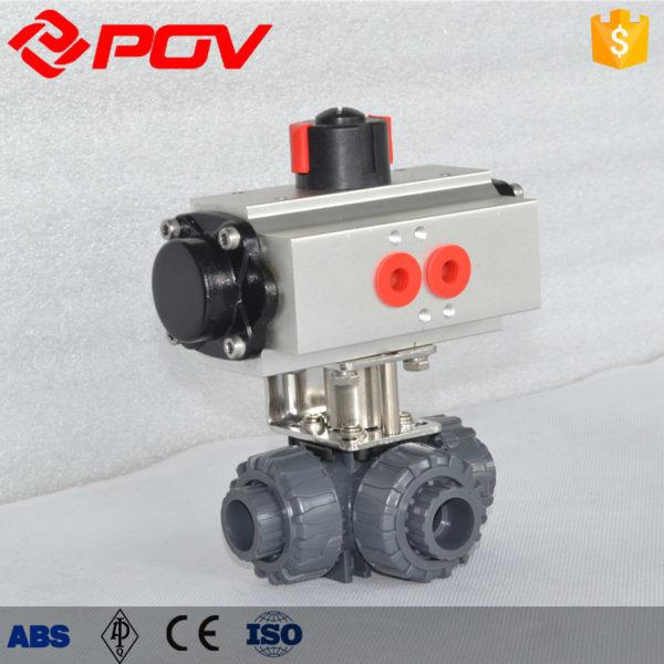 Pneumatic 3 Way Pvc Ball Valve