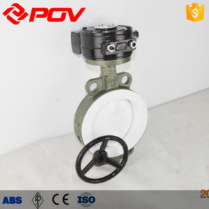 F46 electric fluorine wafer butterfly valve